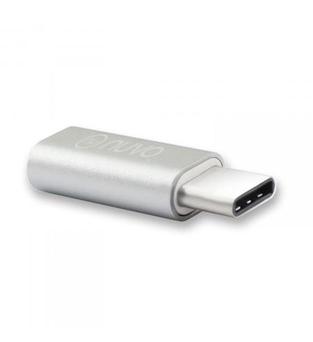 NUVO adaptér z micro USB na USB Type C, strieborný