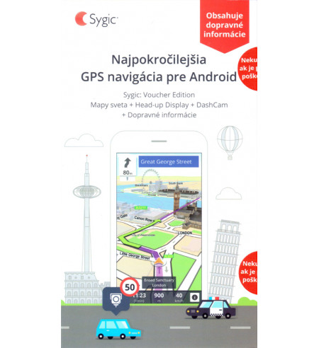 Sygic Voucher Svet s Traffic, HUD a Dashcam, lifetime