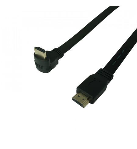 HDMI plochý kábel s priamym a zahnutým konektorom (dole), 3m