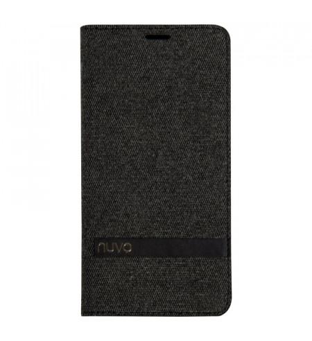 NUVO Fabric Wallet Flip Case for Samsung Galaxy J6 Plus, black